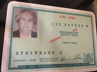 Identity document - Old (1958) South African identity card issued to a permanent resident (PR).