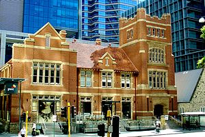 Old Perth Technical School - St Georges Terrace facade in 2012, after commercial refurbishment