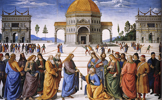 This fresco (1481-82) by Pietro Perugino in the Sistine Chapel shows Jesus giving the keys of heaven to Saint Peter. Perugino - Entrega de las llaves a San Pedro (Capilla Sixtina, 1481-82).jpg
