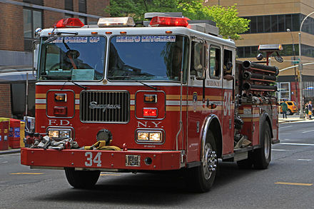 A typical FDNY engine company, also known as a pumper or rig. Pictured is Engine Co. 34, quartered in Manhattan. Peter Stehlik - FDNY Engine 34 - 2012.05.18.jpg