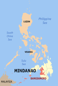 Map of the Philippines showing the location of the Bangsamoro Autonomous Region in Muslim Mindanao