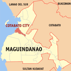Map of Maguindanao showing the location of Cotabato City.