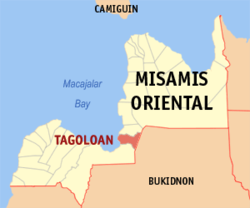 Map of Misamis Oriental with Tagoloan highlighted