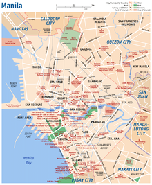Map of Manila, Philippines.