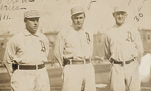 1911 Philadelphia Athletics season - L to R: outfielders Bris Lord, Rube Oldring, Danny Murphy in 1911.