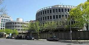 """Philadelphia Police Department - Philadelphia Police Department Headquarters known as """"The Roundhouse"""", designed by Robert Geddes of the firm GBQC"""