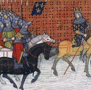 Capetian–Plantagenet rivalry - Philip Augustus crossing the Loire (Grandes Chroniques de France, 14th – 15th century)