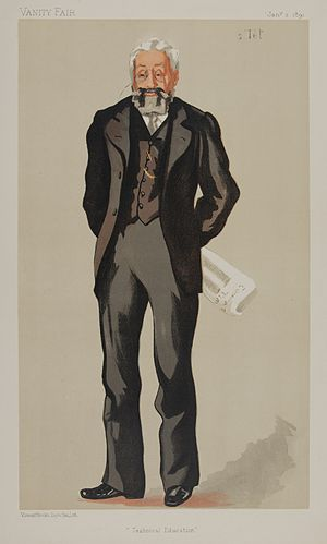 """Philip Magnus - Philip Magnus, caricatured by """"s.Tel"""" in Vanity Fair, 3 January 1891. He is shown holding a copy of The Educational Times."""