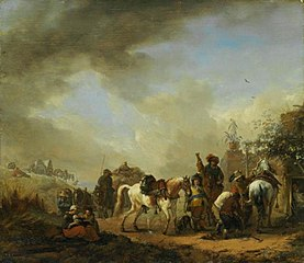 Landscape with horses at a blacksmith