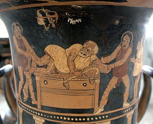 Phlyax play - Three men robbing a miser in his house, in a scene from a phlyax play painted by Asteas (350-340 BCE)