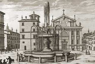 San Giacomo Scossacavalli - Piazza Scossacavalli with San Giacomo and the fountain of Carlo Maderno in a 17th-century etching by Giovanni Battista Falda