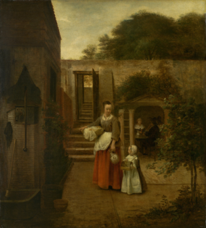 Group portrait of an unknown family or company - Image: Pieter de Hooch A Woman and Child in a Courtyard