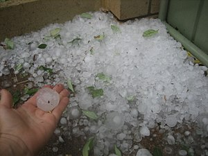 Pile of hail after a hail storm hits Perth.