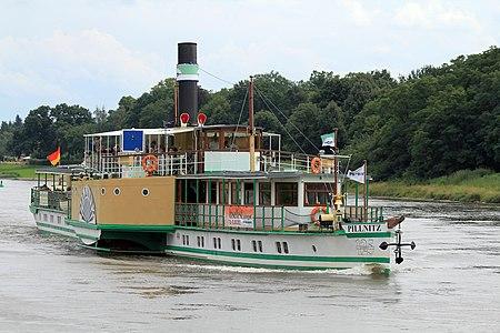 Ship Pillnitz on Elbe river in Germany
