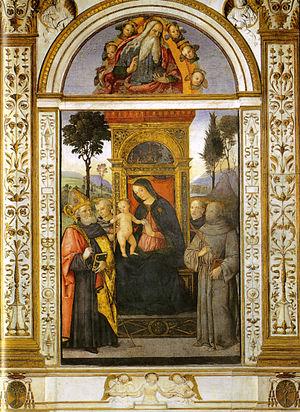 Basso Della Rovere Chapel (Santa Maria del Popolo) - Image: Pinturicchio, madonna in trono e santi della cappella basso della rovere