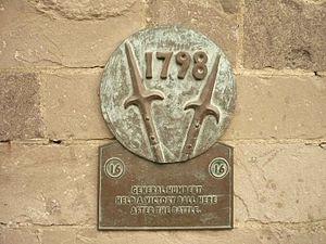Battle of Castlebar - A plaque commemorating the battle