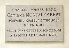 Plaque Charles de Montalembert, 5 impasse de Valmy, Paris 7.jpg