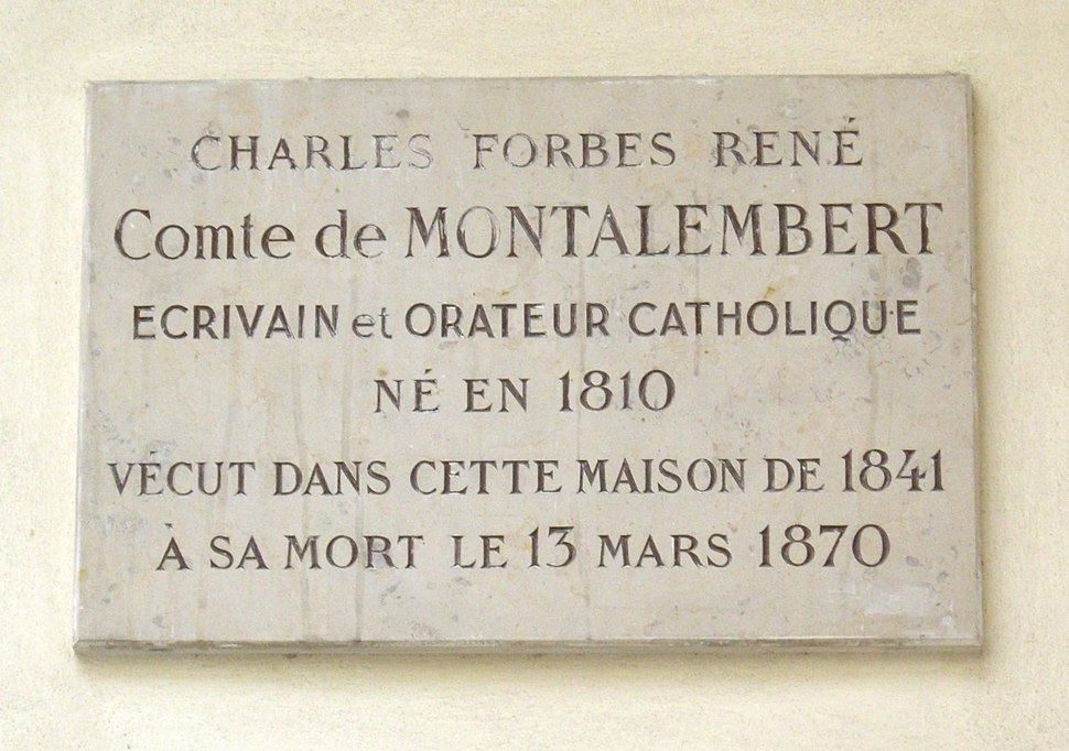 Plaque Charles de Montalembert, 5 impasse de Valmy, Paris 7