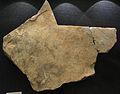 Plaqueta gravada de la Cova del Parpalló (Gandia), Solutrià mitjà, Museu de prehistòria de València.JPG