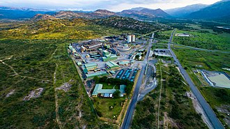 Platinum - An aerial photograph of a platinum mine in South Africa.  South Africa produces 80% of the world production and has most of the world's known platinum deposits.