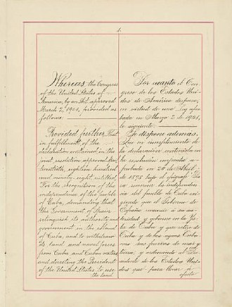 Cuban–American Treaty of Relations (1903) - Page one of the 1903 Treaty of Relations, including the Platt Amendment