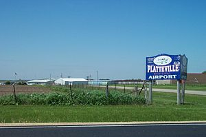Platteville, Wisconsin - Entrance to Platteville Municipal Airport.