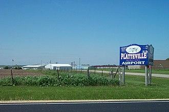 Platteville, Wisconsin - Entrance to Platteville Municipal Airport.