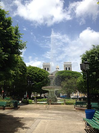 Guayama, Puerto Rico - The central plaza and church of San Antonio de Padua in Guayama