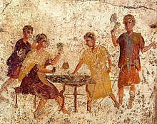 Dice players at Saturnalia - wall painting from Pompeii