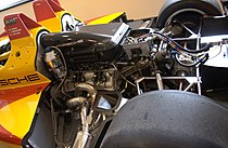 A view of the engine, gearbox and rear axle of a Porsche RS Spyder