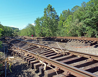 Port Jervis Line - Hurricane Irene damage at Sloatsburg.