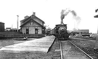 Port Whitby and Port Perry Railway - Image: Port Perry train station 1912