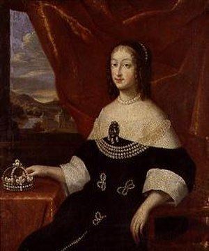 Christine of France - Christine Marie in 1633 holding onto the Savoyard Coronet; in the background is the Castello del Valentino where she lived from 1630