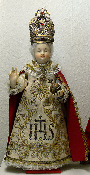 Infant Jesus of Prague - An early German copy of the statue, note the white wig as opposed to the traditional blonde hair. circa. 1870