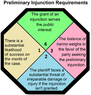 Preliminary injunction injunction entered by a court prior to a final determination of the merits of a legal case,in order to restrain a party from going ahead with a course of conduct/compelling a party to continue with a course of conduct until the case has been decided