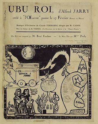 Théâtre de l'Œuvre - Poster advertising the premiere of Alfred Jarry's Ubu Roi.