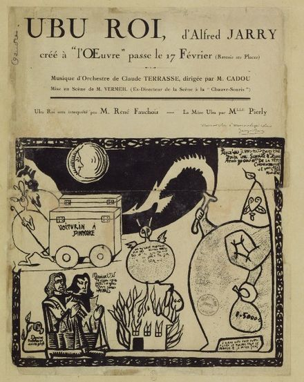 Poster advertising the premiere of Alfred Jarry's Ubu Roi. Premiere Ubu Roi.jpg