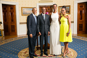 Ange Kagame - Ange Kagame (second from right) with President Barack Obama (left), His Excellency Paul Kagame, President of the Republic of Rwanda (second from left), and First Lady Michelle Obama (right).
