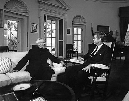 Indian President Sarvepalli Radhakrishnan with US President John F. Kennedy in the Oval Office, 1963