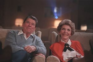 White House Family Theater - Ronald Reagan and Nancy Reagan watch a film in the White House Family Theater in 1986.