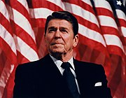 Ronald Reagan at a rally for Senator David Durenberger in Bloomington, Minnesota 1982