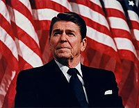 President Ronald Reagan speaking at a Rally <span class=