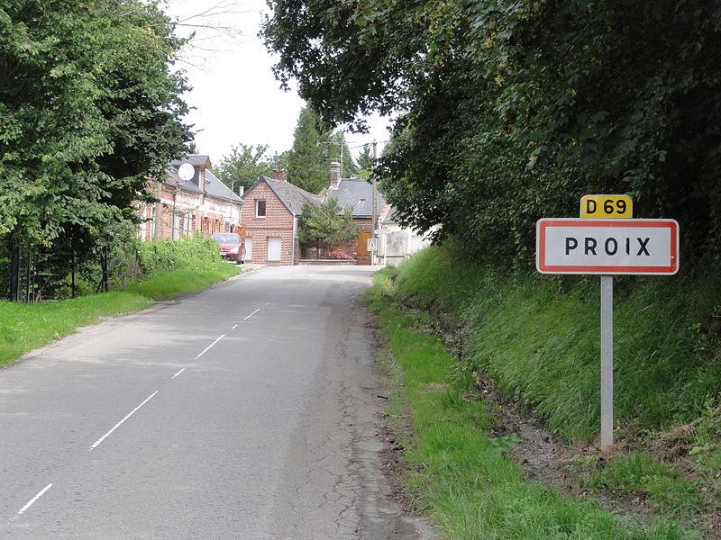 Proix (Aisne) city limit sign