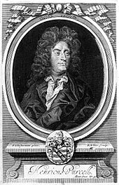 Engraved portrait of Purcell by R. White after Closterman, from Orpheus Britannicus (Source: Wikimedia)