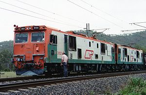 Rail electrification in Queensland - 3100 class on the Goonyella line in 1991