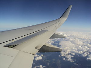 Spoiler (aeronautics) - Spoilers deployed to slow down for descent on a Qantas Boeing 737-800.