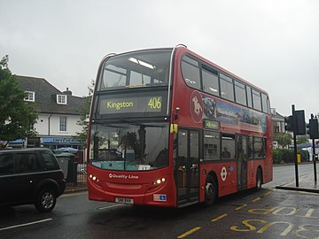 Quality Line DD12 on Route 406, Epsom Clock Tower.jpg