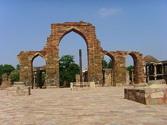 Qutb complex - Quwwat-ul-Islam (or Might of Islam) mosque started in 1193 CE by Qutb-ud-din-Aibak to mark his victory over Rajputs