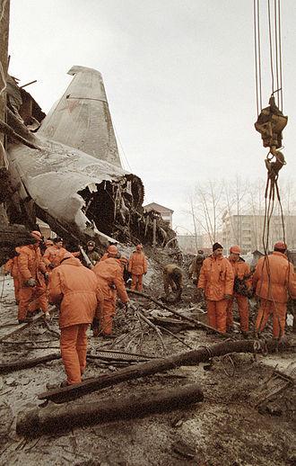 1997 Irkutsk Antonov An-124 crash - Image: RIAN archive 17628 Rescue operation