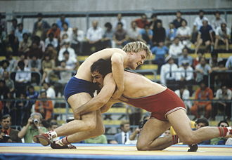 Wrestling at the 1980 Summer Olympics - Illya Mate (USSR, in red) and Július Strnisko (Czechoslovakia, in blue) at the 1980 Summer Olympics. RIAN photo.